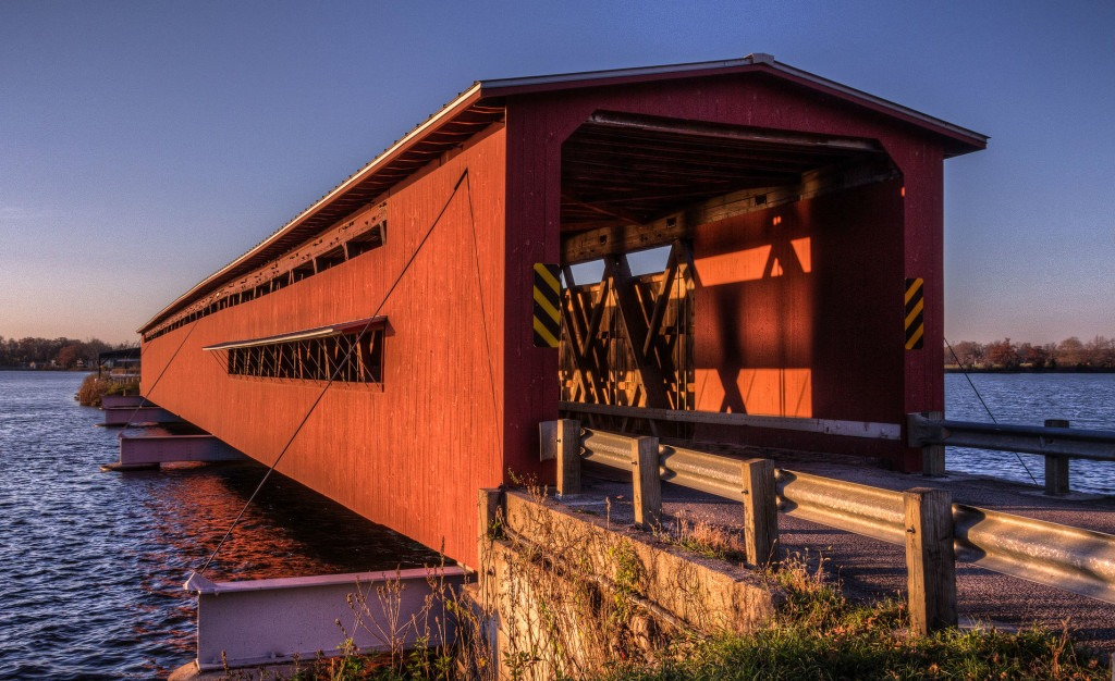 <b>Langley Covered Bridge, Centreville, Michigan</b> - This is the longest of Michigan's few remaining covered bridges.  Photo credit: Bill Dolak